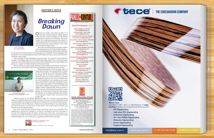 Tece Advertisement Appears in Panel & Furniture in Asia